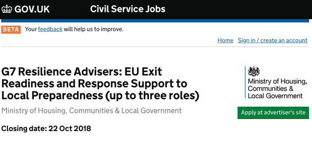 The Government Is Hiring Specialists To Deal With 'Civil Emergencies' Caused By