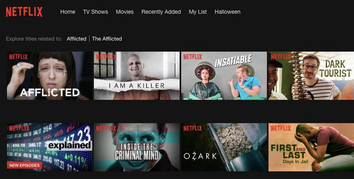 """Afflicted,"" advertised using an unflattering shot of a documentary subject alongside shows like ""I Am a Killer"" and ""Inside the Criminal Mind."""