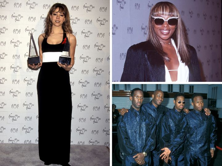 Clockwise from left: Mariah Carey, Mary J. Blige and Boyz II Men at the 1998 American Music Awards.