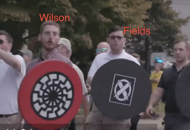 Taylor Michael Wilson and Alex Fields are seen at the 2017 Unite the Right rally in Charlottesville, Virginia.