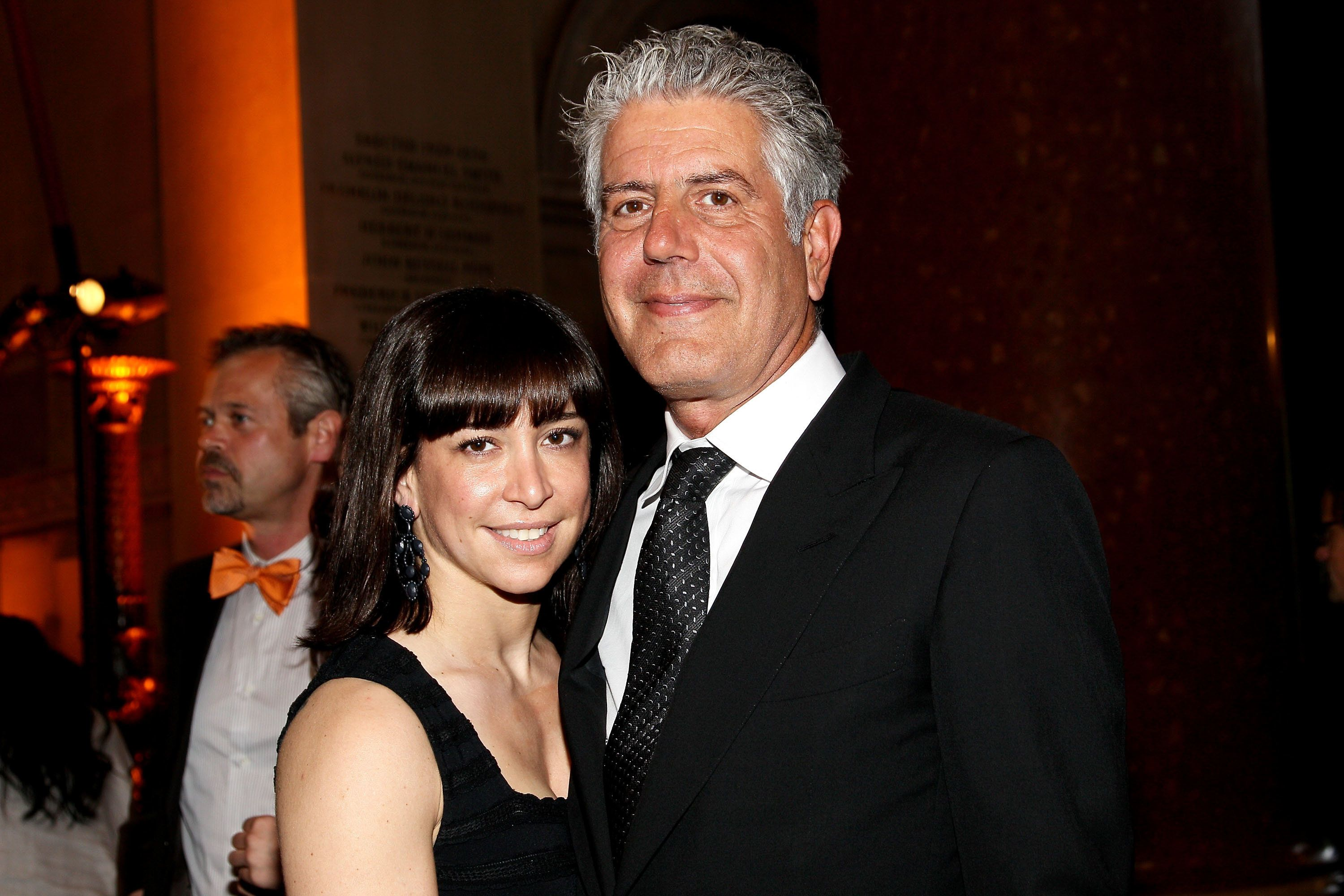 Anthony Bourdain and Ottavia Busia at the 53rd annual CLIO awards at the American Museum of Natural History in 2012.