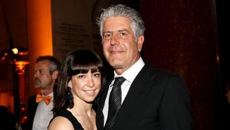 NEW YORK, NY - MAY 15:  Chef, author and television host Anthony Bourdain (R) and Ottavia Busia attend the 53rd annual CLIO awards at the American Museum of Natural History on May 15, 2012 in New York City.  (Photo by Steve Mack/WireImage)