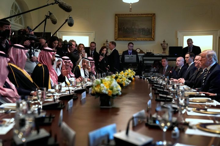 Donald Trump and Crown Prince Mohammed bin Salman sit down to a working lunch with their delegations at the White House on Ma