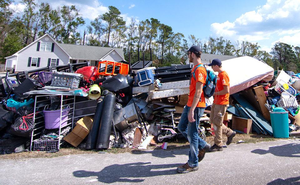 Two Samaritan's Purse volunteers head to work in Hampstead, North Carolina.