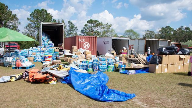 A neighborhood soccer field in Hampstead has been converted into a donation center after Hurricane