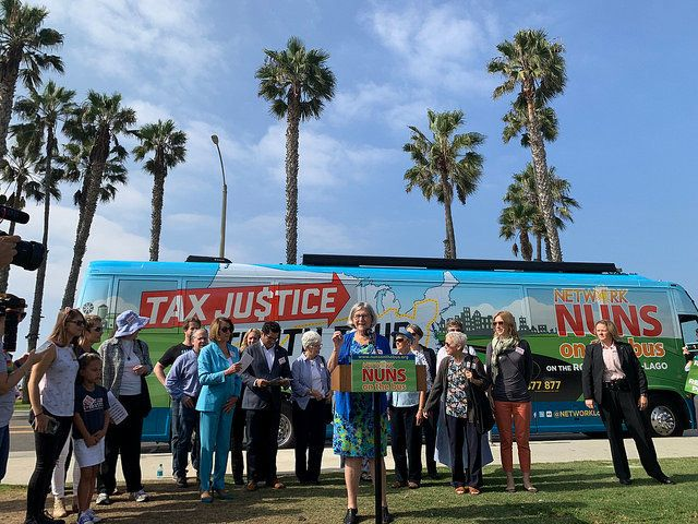 Sister Simone Campbell speaks attheNuns on the Bus Kickoff Rally in Santa Monica, California, on Oct. 8, 2018.