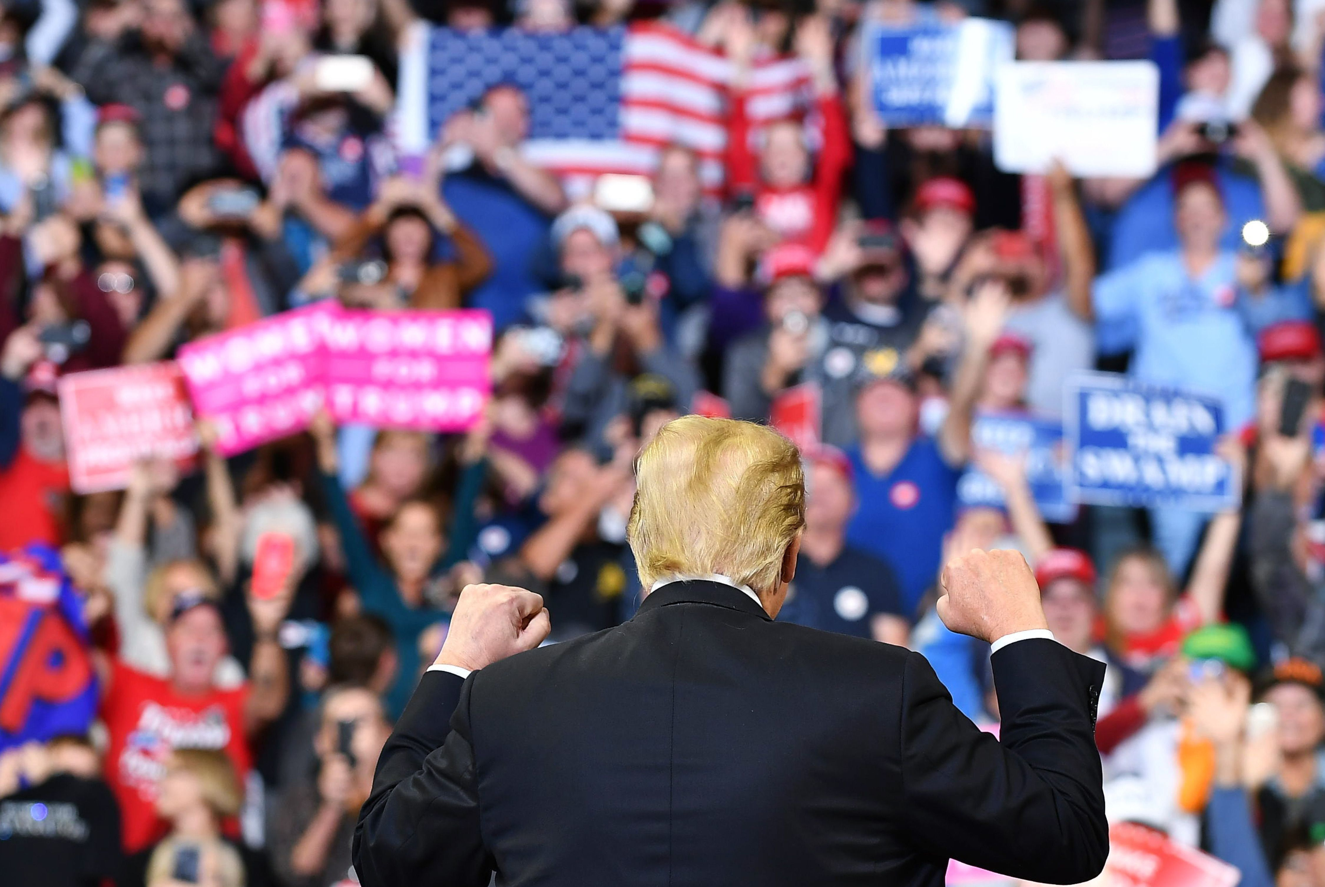 US President Donald Trump speaks during a rally at the Mid-America Center in Council Bluffs, Iowa on October 9, 2018. (Photo by MANDEL NGAN / AFP)        (Photo credit should read MANDEL NGAN/AFP/Getty Images)