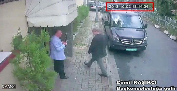 This image from CCTV video obtained by the Turkish newspaper Hurriyet reportedly shows Saudi journalist Jamal Khashoggi enter