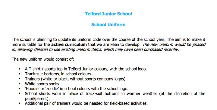 Telford Junior School Plans To Swap School Uniform For