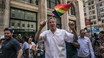 NEW YORK JUNE 25:  Mayor Bill De Blasio arrives to the NYC Pride March on June 25, 2017 in New York City. (Photo by Maite H. Mateo/VIEWpress/Corbis via Getty Images)
