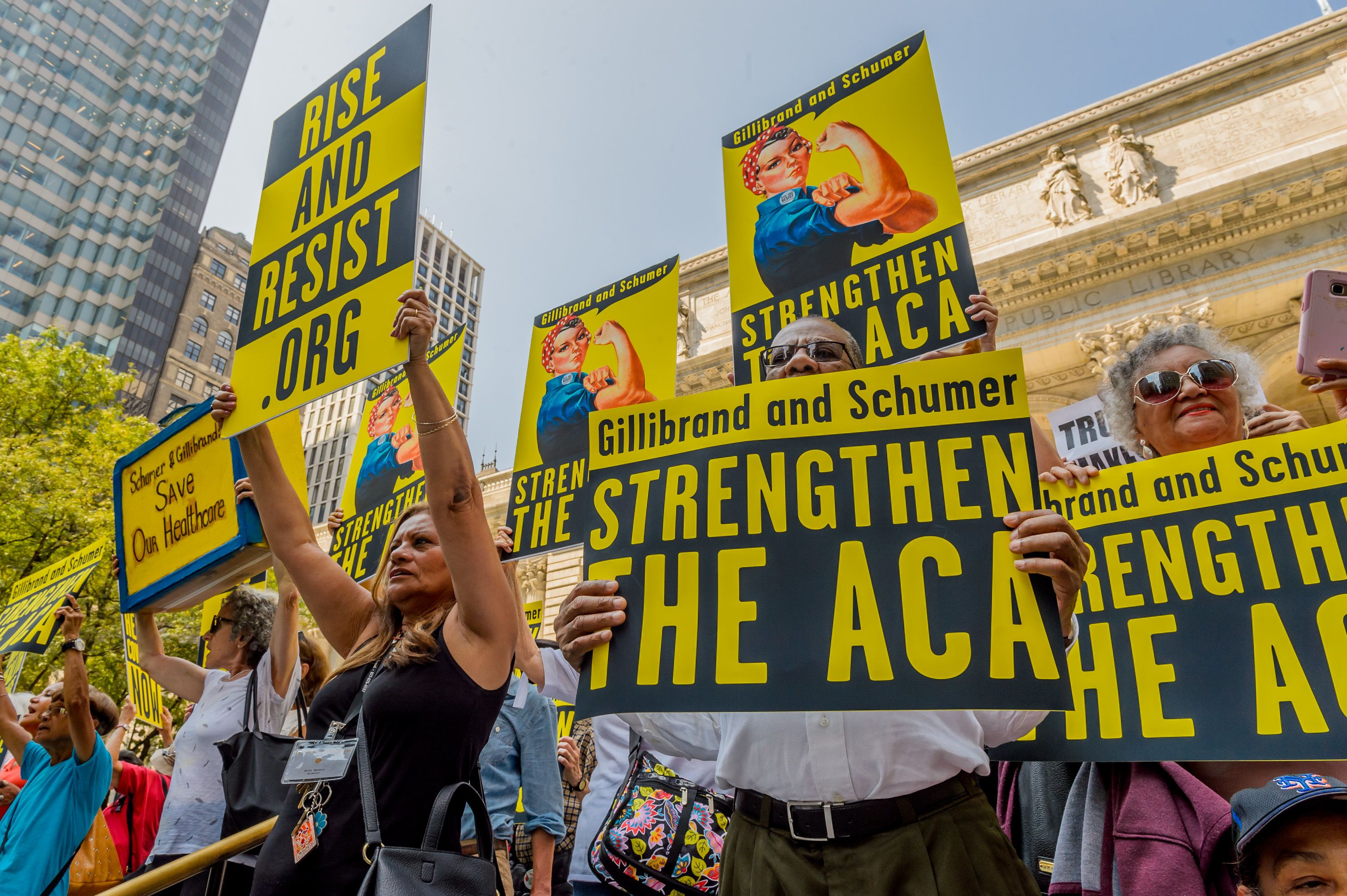 Activists calling for the strengthening of the Affordable Care Act marched in New York City on September 5, 2017.