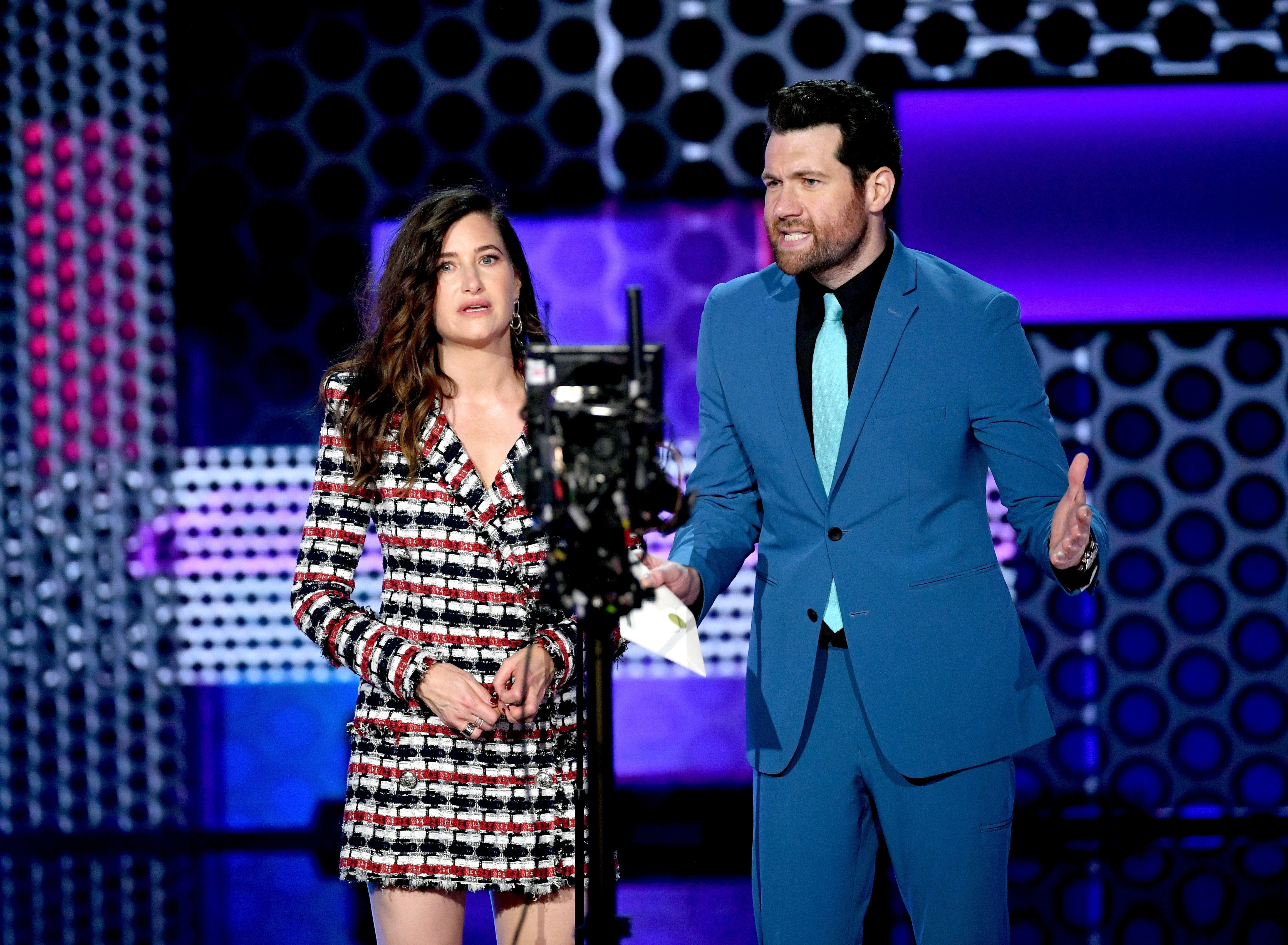 LOS ANGELES, CA - OCTOBER 09:  Kathryn Hahn and Billy Eichner speak onstage during the 2018 American Music Awards at Microsoft Theater on October 9, 2018 in Los Angeles, California.  (Photo by Kevin Winter/Getty Images For dcp)