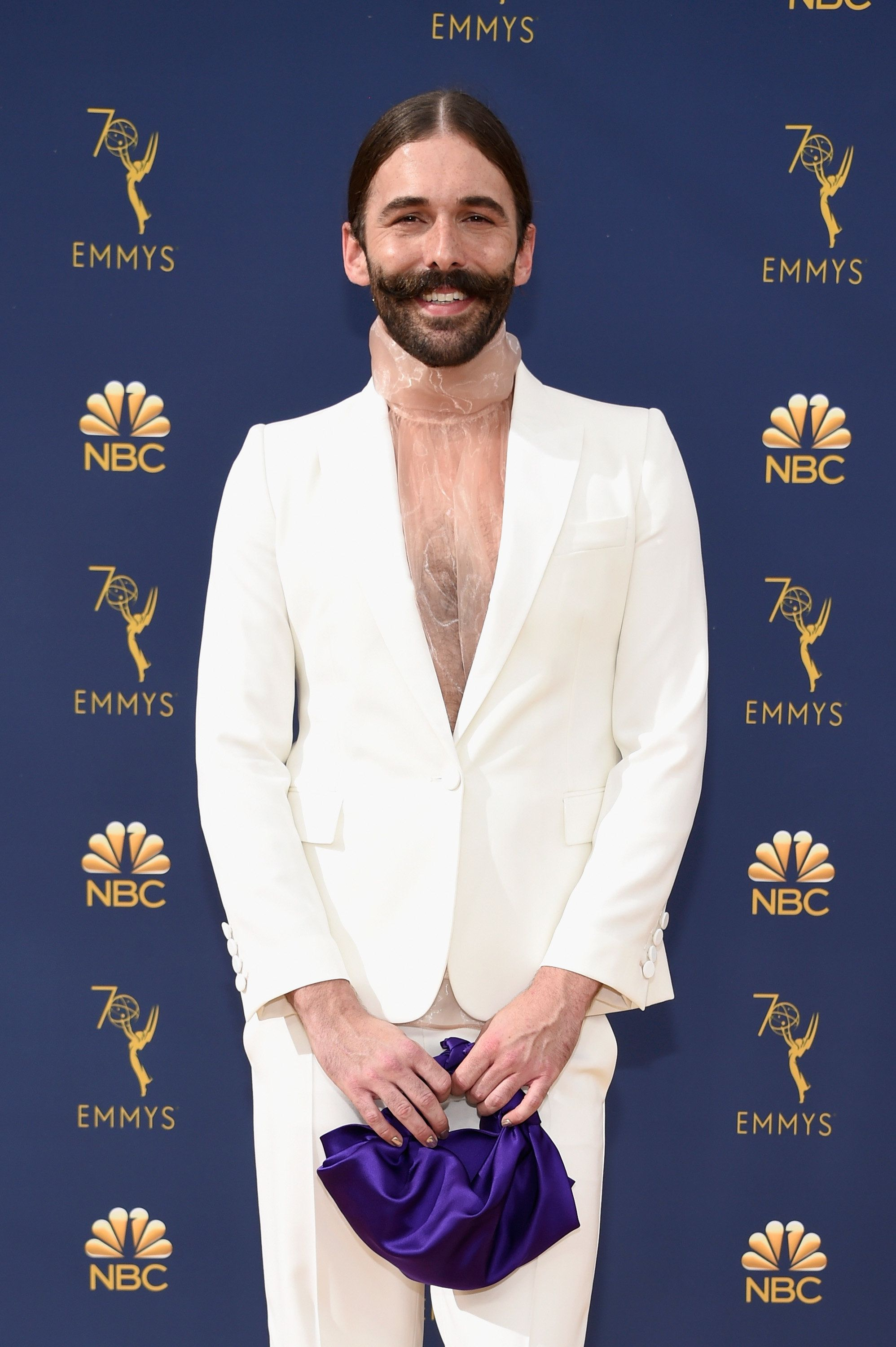 LOS ANGELES, CA - SEPTEMBER 17:  Jonathan Van Ness attends the 70th Emmy Awards at Microsoft Theater on September 17, 2018 in Los Angeles, California.  (Photo by Kevin Mazur/Getty Images)
