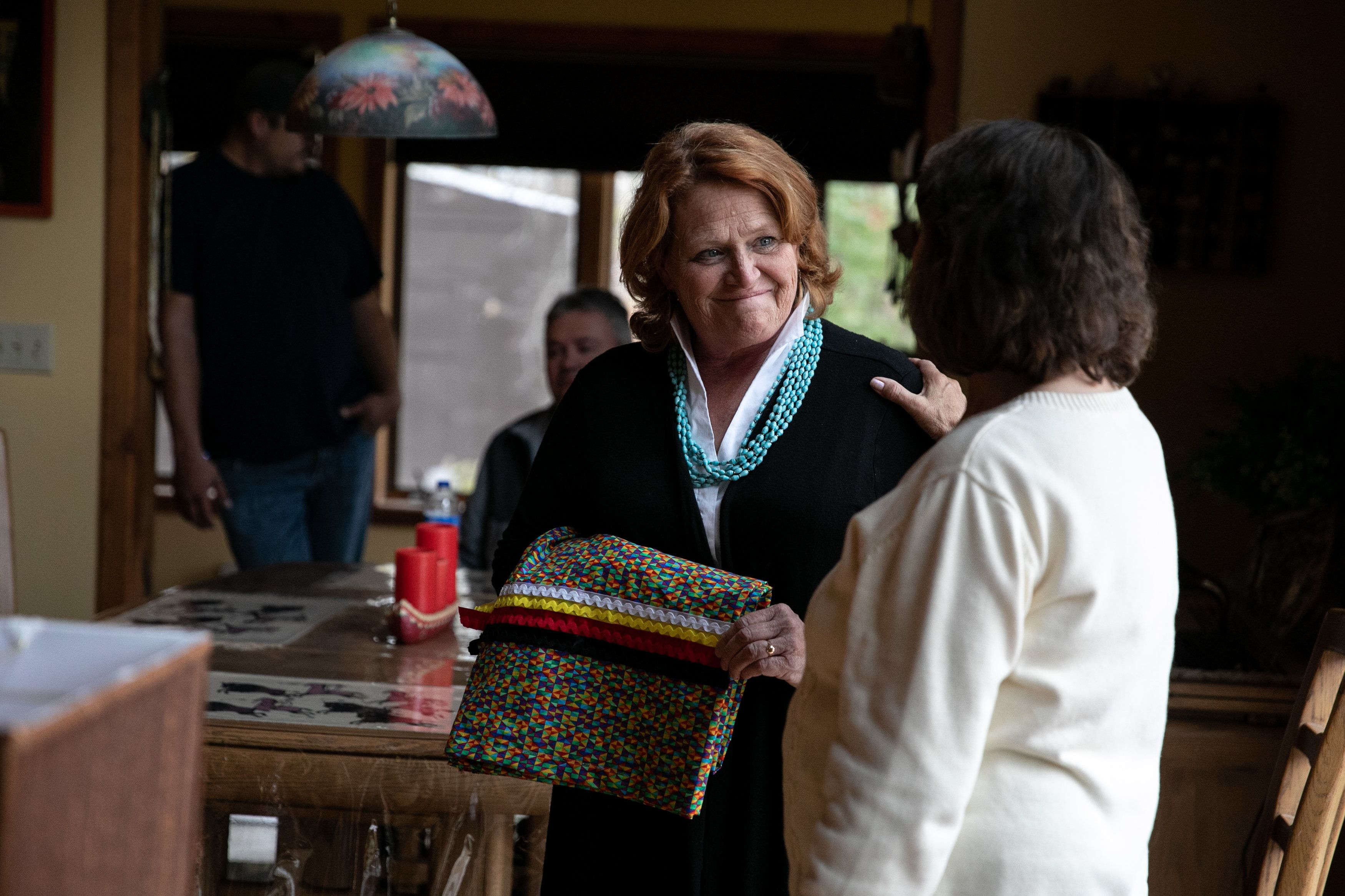 BELCOURT, NORTH DAKOTA - October 8, 2018: Senator Heitkamp was presented with a ribbon skirt at the home of Twila Martin-Kekahbah, a member of the Turtle Mountain Band of Chippewa. Ilana Panich-Linsman for HuffPost