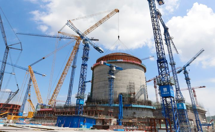 A new nuclear reactor under construction in Fangcheng, China.