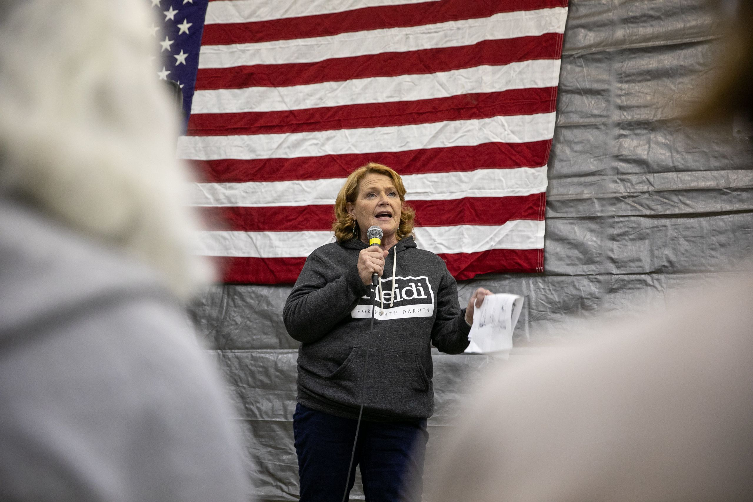 Heitkamp speaks to a packed house of supporters at a rally at Schmidt's Shop in Wyndmere, North Dakota, on Sunday.