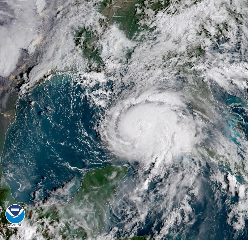 A National Oceanic and Atmospheric Administration satellite image shows Hurricane Michael approaching the Florida Panhandle.