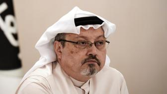A general manager of Alarab TV, Jamal Khashoggi, looks on during a press conference in the Bahraini capital Manama, on December 15, 2014. The  pan-Arab satellite news broadcaster owned by billionaire Saudi businessman Alwaleed bin Talal will go on air February 1, promising to 'break the mould' in a crowded field.AFP PHOTO/ MOHAMMED AL-SHAIKH        (Photo credit should read MOHAMMED AL-SHAIKH/AFP/Getty Images)