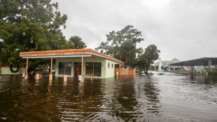 Flood waters hit the Cooter Stew Cafe in Saint Marks, Florida, on Oct. 10, 2018, as Hurricane Michael pushes the storm surge