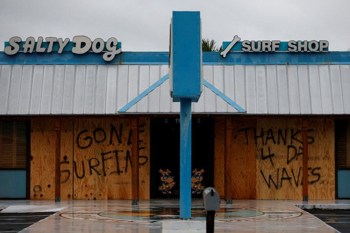 A message has been written on a closed business as Hurricane Michael approaches Panama City Beach, Florida, on Oct. 10.