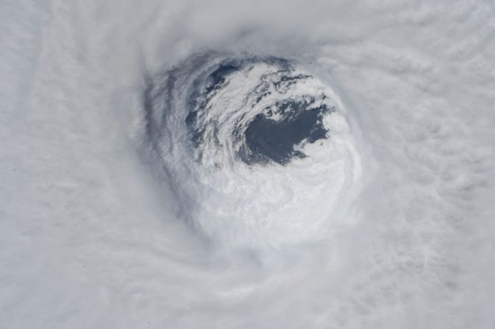 This photo made available by NASA shows the eye of Hurricane Michael, as seen from the International Space Station on Oct. 10