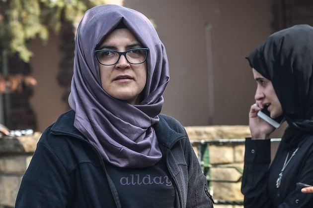 Hatice Cengiz (left),Khashoggi's fiancée, in front of the Saudi Arabian Consulate in Istanbul...