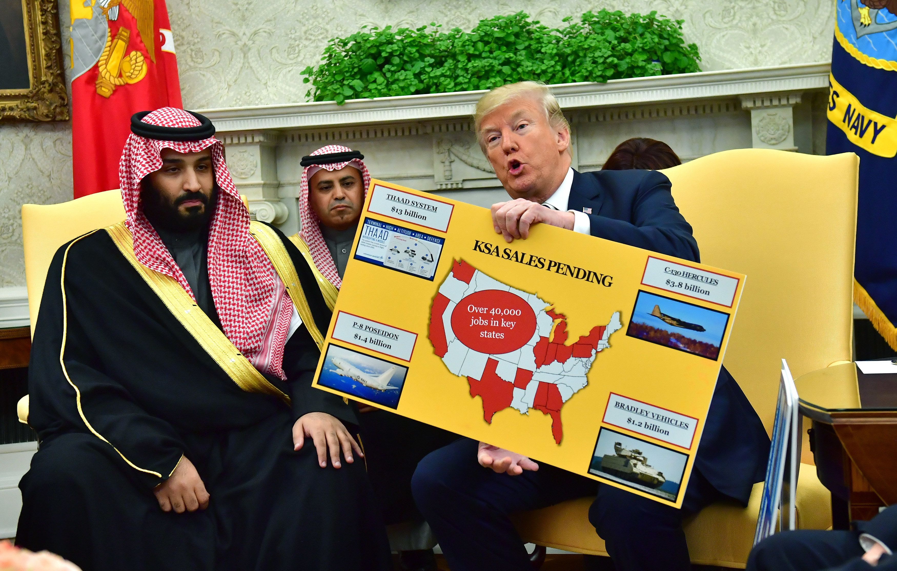 WASHINGTON, DC - MARCH 20: President Donald Trump (R) holds up a chart of military hardware sales as he meets with Crown Prince Mohammed bin Salman of the Kingdom of Saudi Arabia in the Oval Office at the White House on March 20, 2018 in Washington, D.C.  (Photo by Kevin Dietsch-Pool/Getty Images)