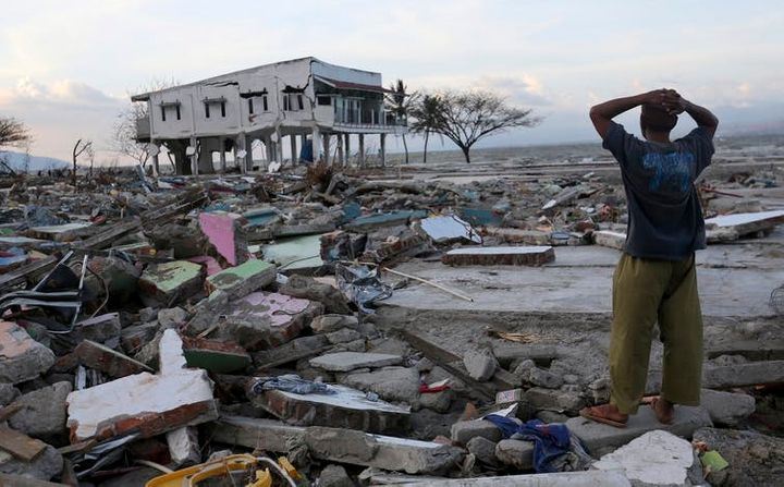 A man surveys the damage after the earthquake and tsunami.