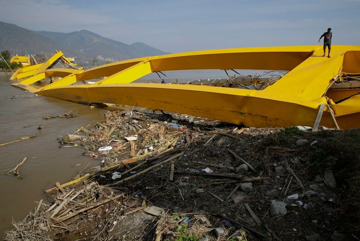 A bridge in Palu, Central Sulawesi, Indonesia, was destroyed in the recent earthquake and tsunami.