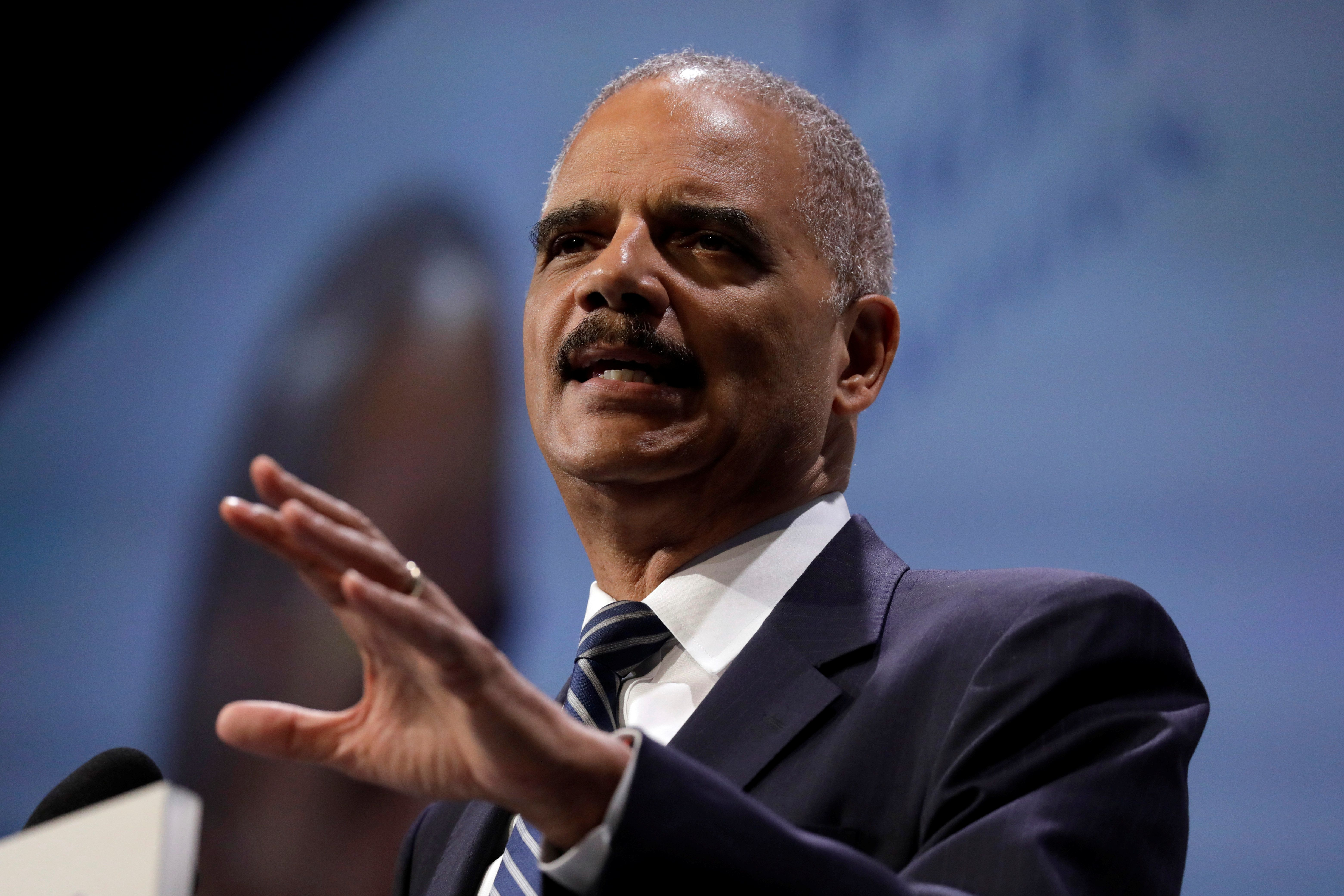 Former U.S. Attorney General Eric Holder took a more hard-line approach to Republican attacks.