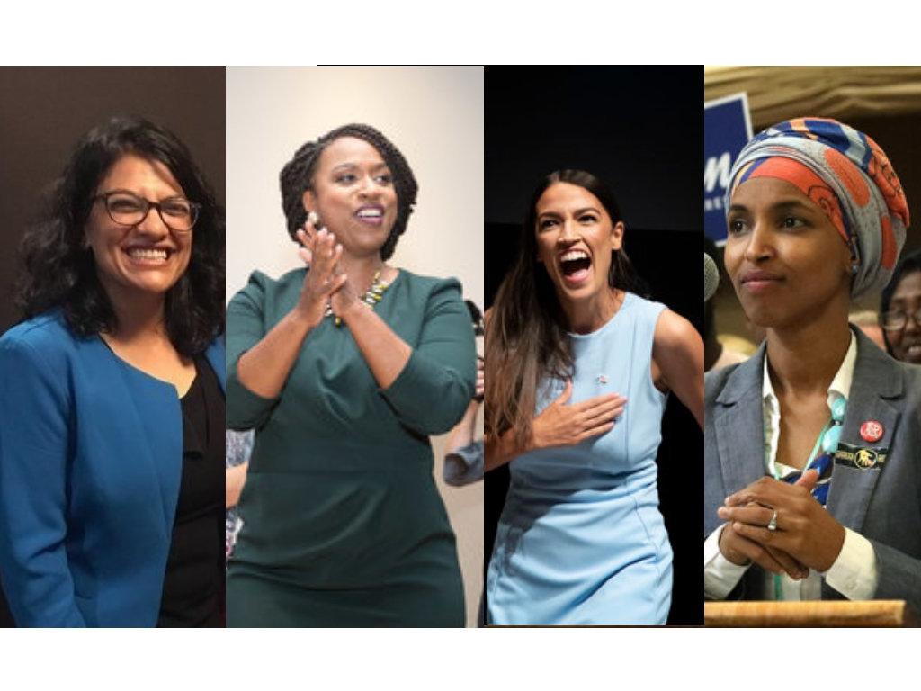 Congressional candidates Rashida Tlaib (Michigan), left, Ayanna Pressley (Massachusetts), Alexandria...