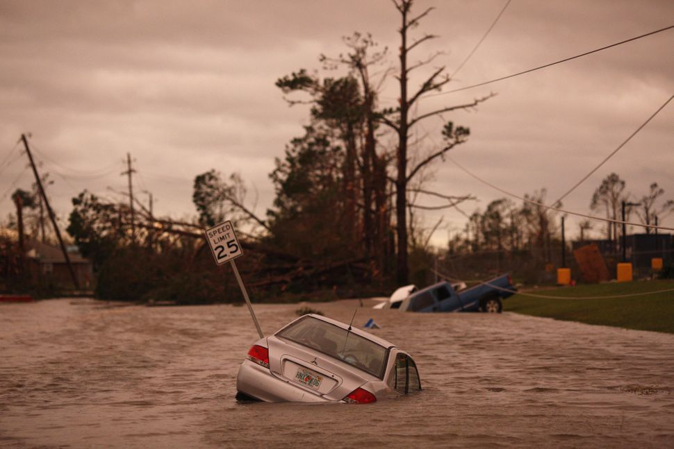 Vehicles sit partially submerged in floodwaters after Hurricane Michael hit in Panama City, Florida on Wednesday.