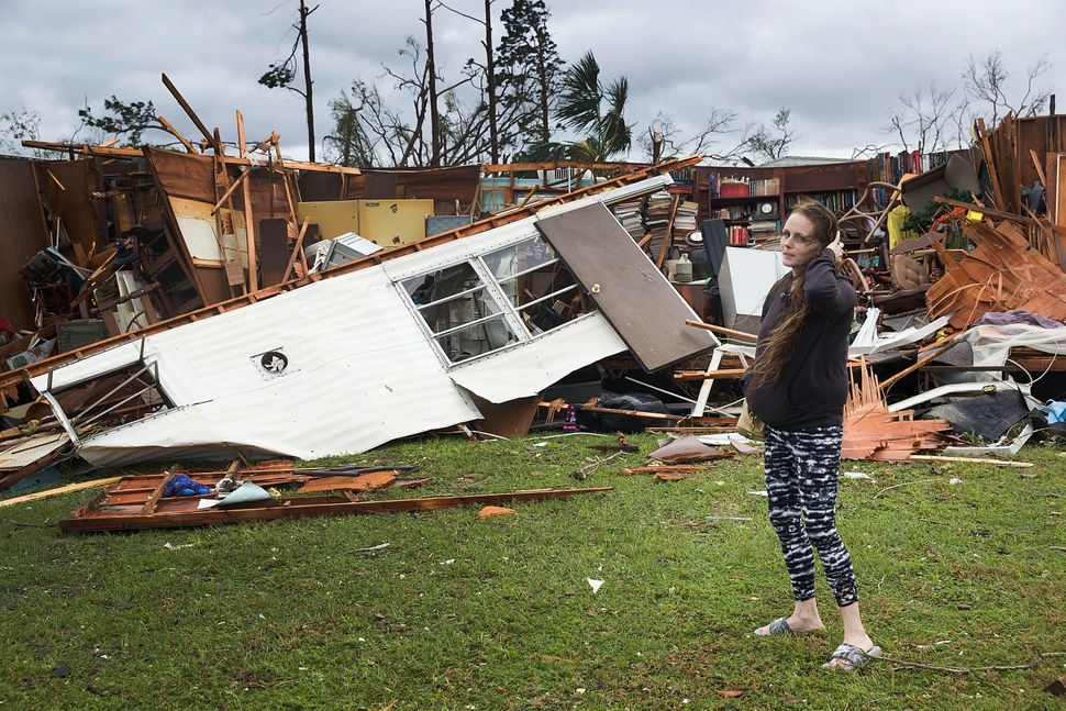 Haley Nelson's father's trailer was destroyed when Hurricane Michael passed through Panama City on Wednesday.
