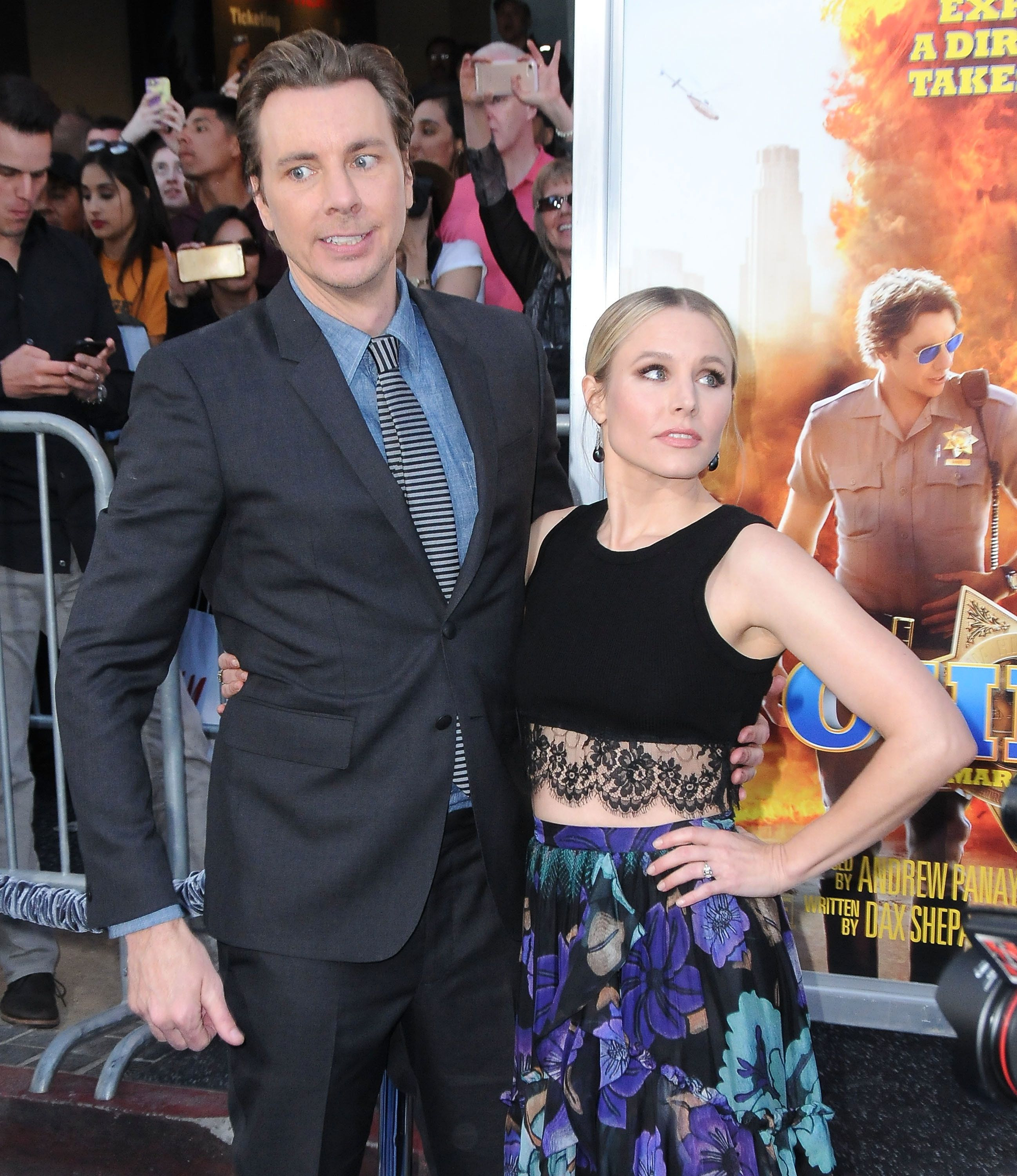 HOLLYWOOD, CA - MARCH 20:  (L-R) Director/writer/executive producer Dax Shepard and actress Kristen Bell arrive at the premiere of Warner Bros. Pictures' 'CHiPS' at TCL Chinese Theatre on March 20, 2017 in Hollywood, California.  (Photo by Barry King/Getty Images)