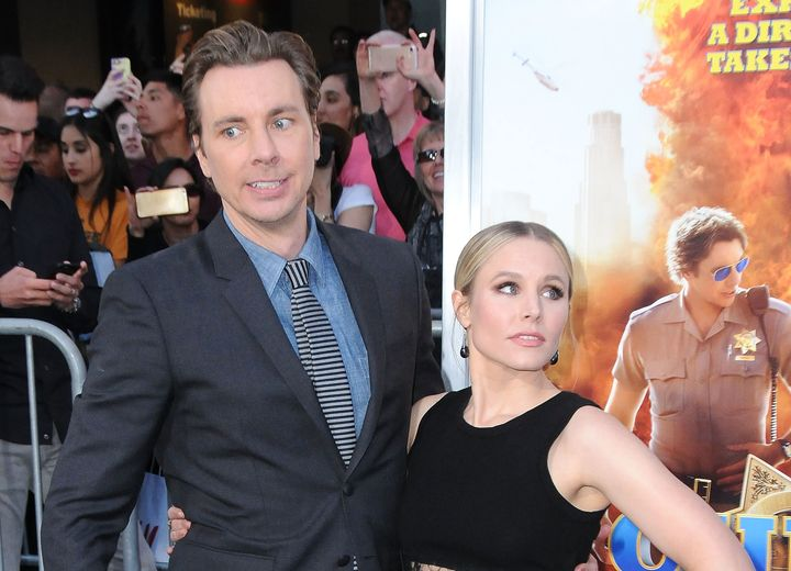 "Kristen Bell and Dax Shepard arrive at the ""Chips"" premiere."