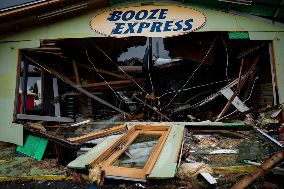 A Booze Express was damaged after the hurricane made landfall along the Florida Panhandle.