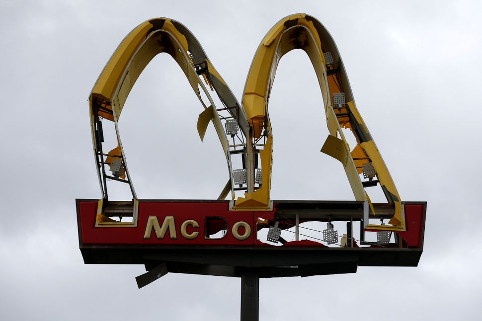 A McDonald's sign damaged in Panama City Beach.