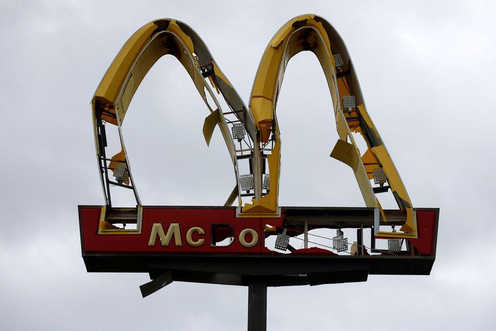 A McDonald's sign damaged in Panama City Beach.