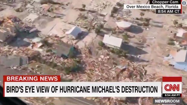 CNN's Brooke Burke flying over Hurricane Michael devastation in Mexico Beach, Florida.