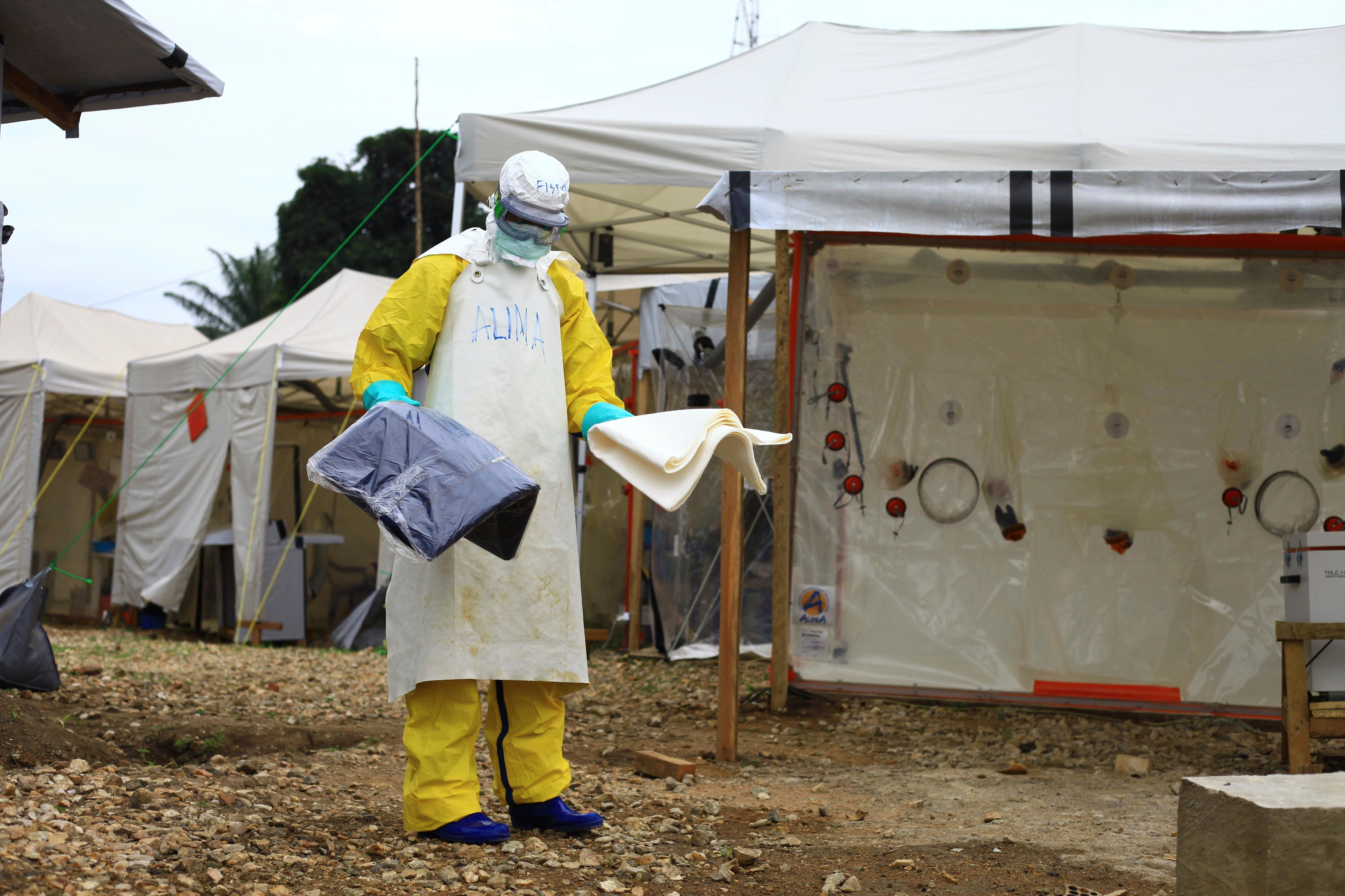 An emergency response worker in the Congolese city of Beni, an epicenter of the latest Ebola outbreak.