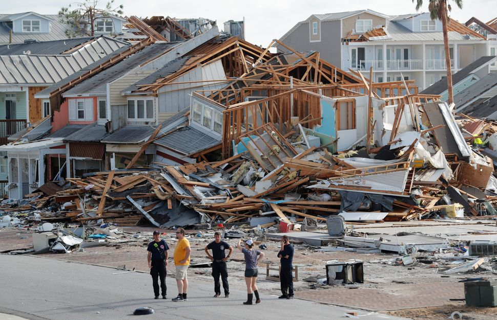 Rescue personnel perform a search in the aftermath of Hurricane Michael in Mexico Beach.