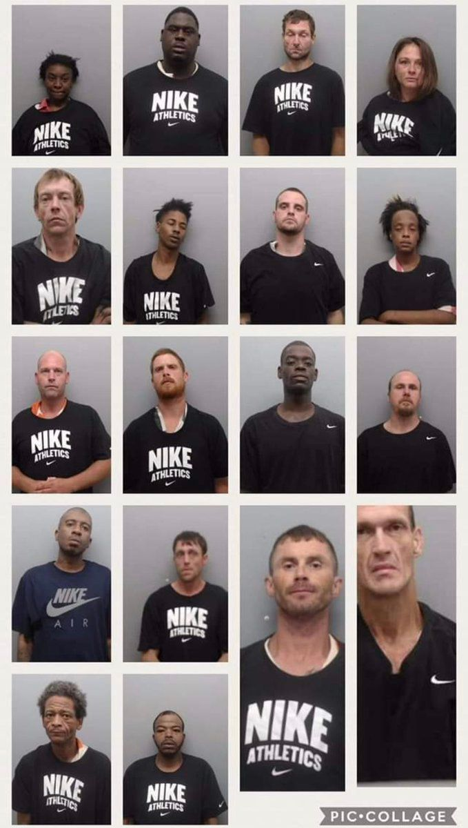 Inmates posed in Nike gear at the Union County Sheriff's Office in Arkansas.