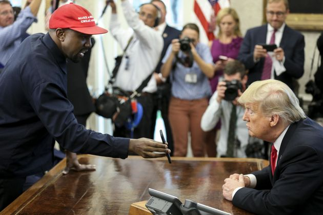 Rapper Kanye West meets with President Donald Trump Thursday in the Oval Office at the White