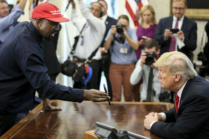 Rapper Kanye West meets with President Donald Trump Thursday in the Oval Office at the White House.