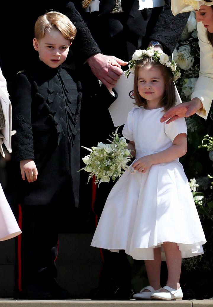 Prince George and Princess Charlotte at the royal wedding on May 19.