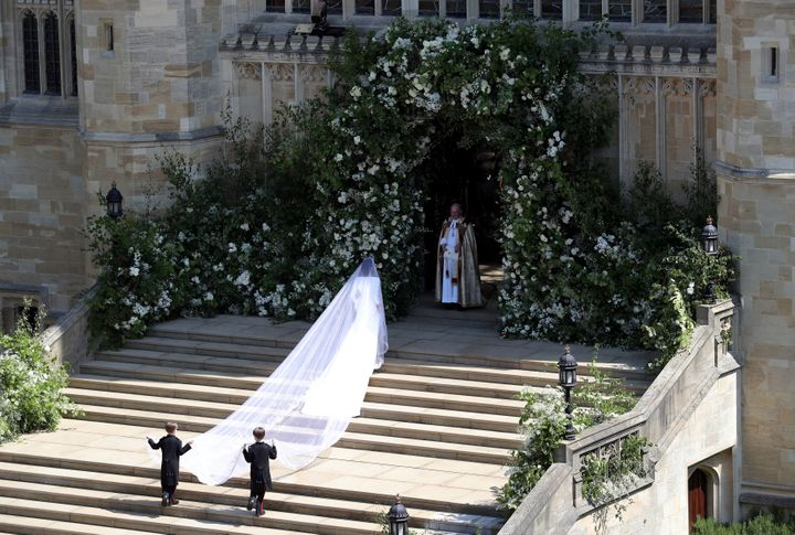 A shot of Meghan Markle's 16-foot veil as she walks into St. George's Chapel on May 19.