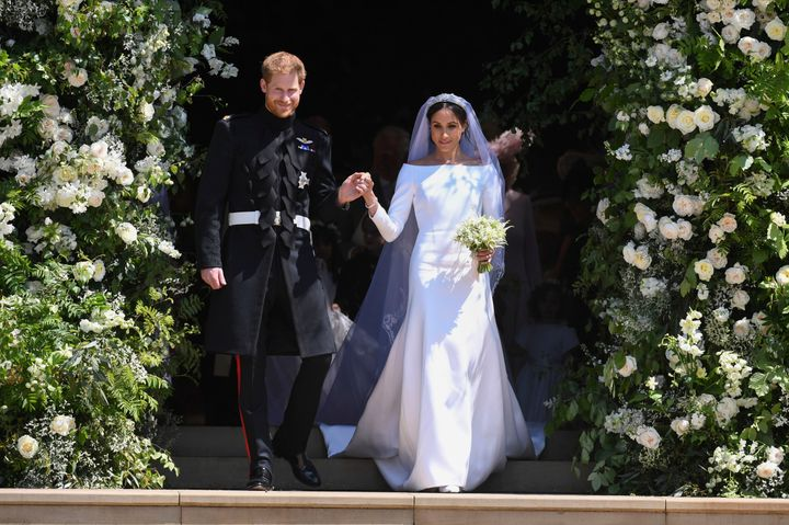 Prince Harry and Meghan Markle on their wedding day in May.