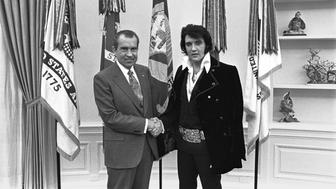 "President Nixon shakes hands with Elvis Presley in the Oval Office in Washington, DC in December 1970 after the little-known meeting. ""Elvis & Nixon"" is the comedy movie that re-imagines the unlikely encounter between the two cultural giants which opens in U.S. theaters April 22, 2016 after premiering at New York's Tribeca film festival.  Oliver F. Atkins/White House/Nixon Library/Handout via Reuters  ATTENTION EDITORS - FOR EDITORIAL USE ONLY. NOT FOR SALE FOR MARKETING OR ADVERTISING CAMPAIGNS. THIS IMAGE HAS BEEN SUPPLIED BY A THIRD PARTY. IT IS DISTRIBUTED, EXACTLY AS RECEIVED BY REUTERS, AS A SERVICE TO CLIENTS"