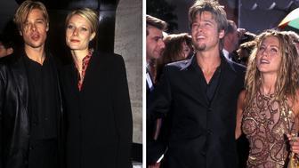 Brad Pitt with girlfriends Gwyneth Paltrow and Jennifer Aniston.