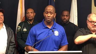 Tallahassee Mayor and Democratic gubernatorial candidate Andrew Gillum, speaks during a briefing on Hurricane Michael in Tallahassee, Fla., Wednesday Oct. 10, 2018. In the days before Hurricane Michael made landfall, Gillum blanketed the national airwaves, sounding much like the man he wants to replace, Gov. Rick Scott, who constantly urged residents to seek shelter and take the massive storm seriously. (AP Photo/Gary Fineout)